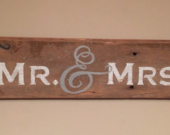 Mr. & Mrs. - Reclaimed Wood Wall Sign