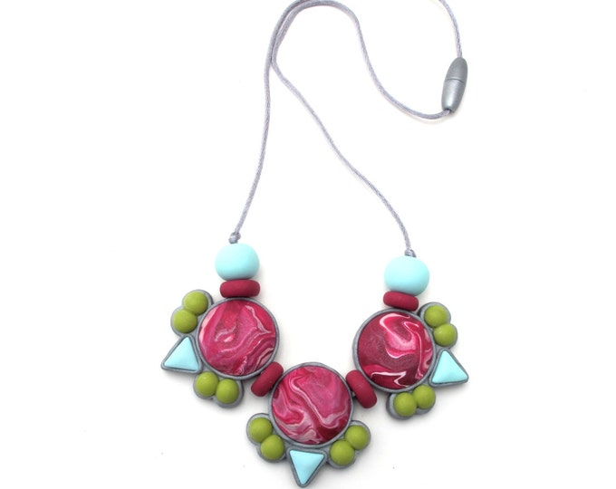 SALE (HALF PRICE) Mint berry salad bib // Marbled maroon aqua and chartreuse polymer clay gem statement necklace// Little Tusk// #SN3034