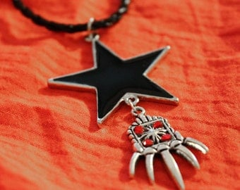 Chain braided rope with Black Star and hand red rhinestone pendant necklace