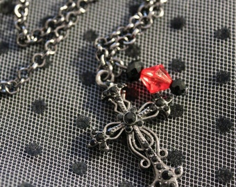 Chain necklace with red and black beads and cross engraved with stres black gunmetal