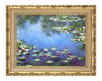 Claude Monet Water Lilies Painting Reproduction Framed Canvas Wall Art Print - Clearance Sale - M00250