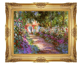 The Garden Path Giverny Claude Monet Painting Reproduction Framed Wall Art Print on Canvas - Small to Large Sizes - M00036