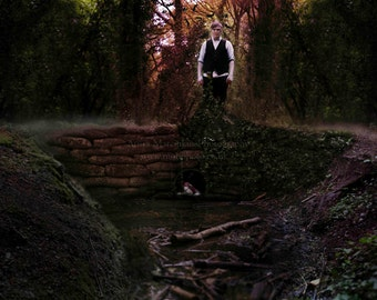 Artwork. The Hunt. Fine Art Photography. Metallic print. Premium professional photo print. Fantasy, forest, nightmare, ditch, Halloween