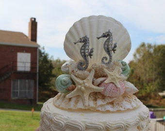 Seahorse Wedding Cake top / Beach tropical themed starfish and Shell cake topper