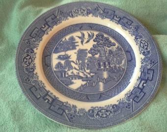 Blue Willow John Steventon Burslem England circa 1890 Plate