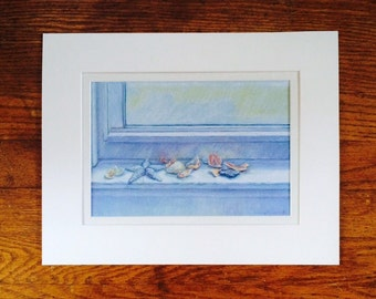 Summer's Star ~ matted signed print of original pastel drawing