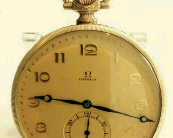 Antique Omega 585 pocket watch 1920 Super top condition collector's item