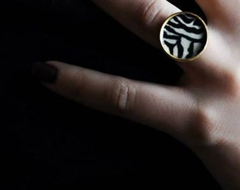 Zebra Ring - Hand made black & white ring