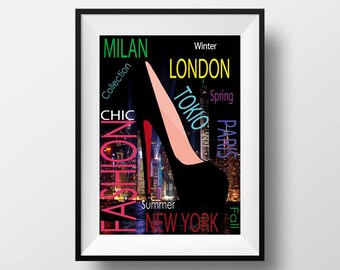 Fashion wall art illustration, fashion print wall art,  printable, digital,  Instant Download