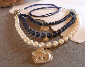 Pearl, Lapis necklace with silver charms