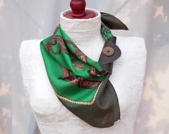 Leather scarf cuff, Green scarf, Genuine leather cuff, Button leather scarf cuff, upcycled scarf