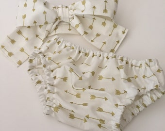 Diaper cover, White with Gold Arrows, Girl Diaper cover, bloomers, baby girl clothes