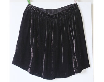 Crushed Velvet Mini Skirt, Charcoal Black Velvet Mini Skirt,