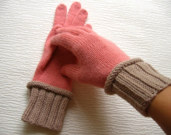 Knit gloves Alpaca Wool Women's Mix 2-color winter gloves Salmon-Beige or Pink-Gray glove mitten Girl's wooly Gift for her