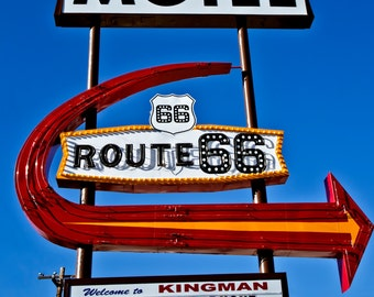 Route 66, Red Arrow Sign, Neon Sign Photo, Route 66 Wall Art, Whimsical Art, Route 66 Decor Affordable Wall Art Fine Art Photograph Wall Art