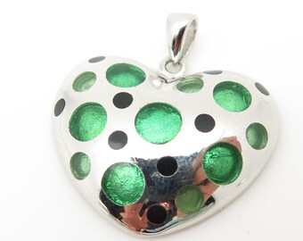 925 Sterling Silver Green and Balck Spotted Heart Pendant (6.8g)