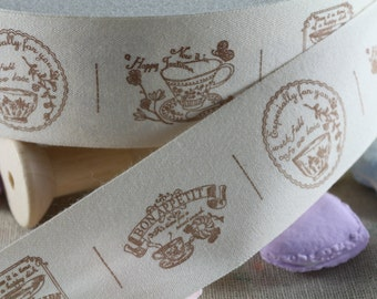 """2 Meters of 4.0 cm (~ 1.6"""") Wide Zakka Cotton Ribbon/Sewing Tape/ Cotton Label --- """"happy teatime"""" Print"""
