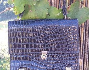 Black handbag croco style