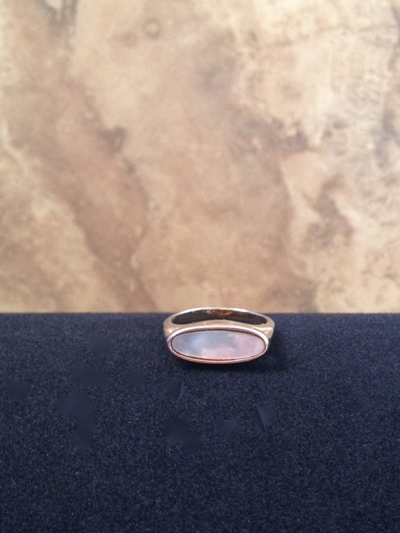 Unique Vintage Gold And Ivory Mother Of Pearl Ring By Avon