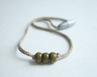 sweet olive necklace // macrame yarn // wooden beads
