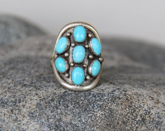 ring NAVAJO silver turquoise and massive real