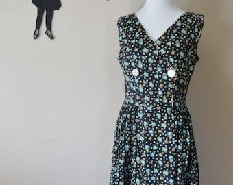 Vintage 1960's Floral Day Dress / 60s Cotton Sun Dress M