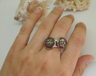 Zucker-Totenkopfring, Festival Ring, Halloween Ring, Cabochon Ring, Totenkopfring, rosa Totenkopf, mexikanische Ring, Cinco De Mayo, 12mm Cabochons, Blumen