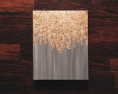 As seen in HGTV magazine, gold leaf painting, abstract gold leaf painting, 8x10 wall art, heavy duty canvas painting