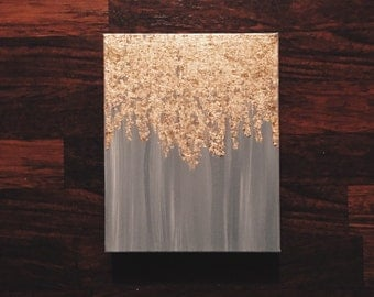 As seen in HGTV magazine, gold leaf painting, multiple sizes, customize your own, abstract gold leaf painting, wall art, heavy duty canvas