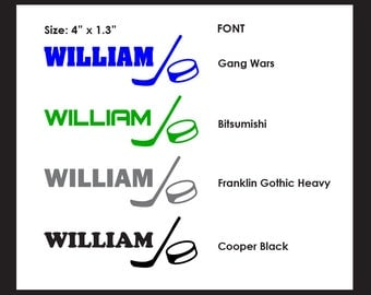 HOCKEY Decals - Personalize just about anything. Set of 3 Stickers. Your choice of colour and font