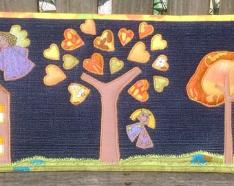Appliqué Quilted Canvas - Wall Hanging - Home Decor