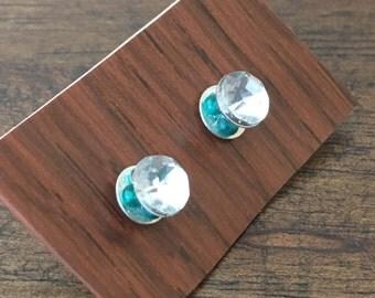 faux diamond + beads earrings