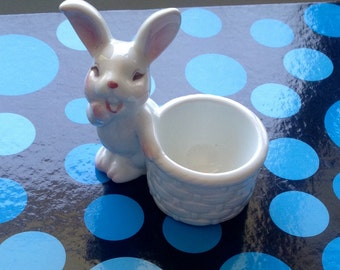 Vintage White Rabbit Eggcup/ Ceramic Eggcup/Easter Eggcup - 1980's