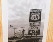 Mule Trading Post  Card. Missouri Route 66 Photo. Route 66 photography. Route 66 photo card. Vintage inspired photo card. Retro style card.