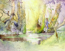 Fairy Watercolour Fairies Woodland Pool Painting Greens Greys Violets Golden Glow Morning Sunlight Forest Trees Unique Gift Display Print