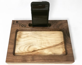 I Love You Docking Station, iPhone Dock, Valentines Day, Tech Organizer, Personalized Gift, Anniversary Gift, Desk Organizer, Tech Gift