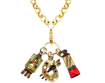 Whimsical Artist Art Student Art Teacher Necklace Women's-Rolo Chain-Silver or Gold Plated-Hand Painted-Pewter Charms-Made in USA