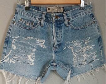 American Eagle cut off denim shorts, shredded shorts, studded shorts, size 4 womens shorts, AE denim shorts