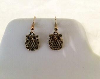 Owl Gold Tone Pierced Earrings