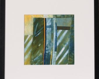 "Quilt, patchwork, original, textiles mural Artquilt, intarsia, shibori, title: ""after the rain"""