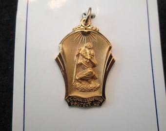 Unique shape, Saint Christopher medal, 12kt. gf, Low price...NEW