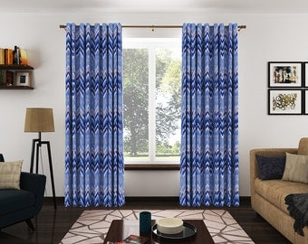 Modern Cotton Grommet Drapery Panels With Blue And White Zigzags. Blue  Geometric Print Drapery Panels Part 86