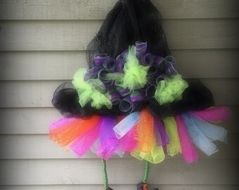 Witch Hat Door Decoration made with Poly mesh and Tulle