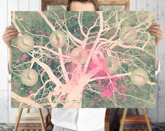 Whimsical Tree Art Print - Woodland Wall Art, Digital Download   Fine Art Print  7x10 - 10x15 - 12x18 - 15x22