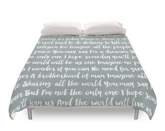 Imagine Song Duvet Cover, 5 Color Options, Twin, Full, Queen, King, The Beatles, John Lennon, Music Lyrics, Neutral Color, Typographic Art