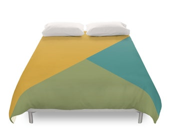 Mixed Geometric Tones Duvet Cover, 2 Color, Minimal Design, Yellow Green Turquoise, Vintage Decor, Retro Bedding, Twin, Full, Queen, King