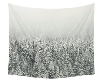 Snow Forest Tapestry, Landscape Print, Winter Tapestry, Wall Tapestries, Nature, Snow, White, Christmas, Photo, Photography, Art, Vintage