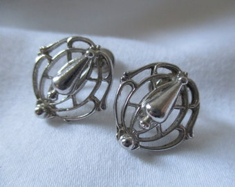 Vintage Silver Toned Screw Back Earrings With Unique Pattern