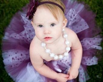 Tutu Polka dot plum tutu skirt with headband, birthday girl, flower girl, newborn tutu skirt