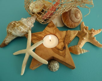 Olive Wood Tea Light Holder, star-shaped